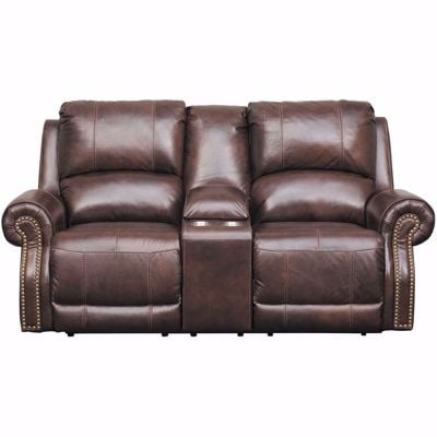 Picture of Buncrana Italian Leather Power Reclining Console Loveseat with Adjustable Headrest