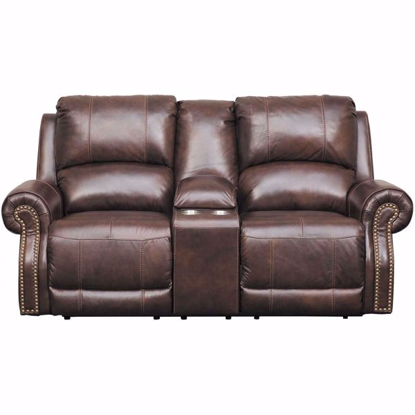 Buncrana Italian Leather Power Reclining Console Loveseat
