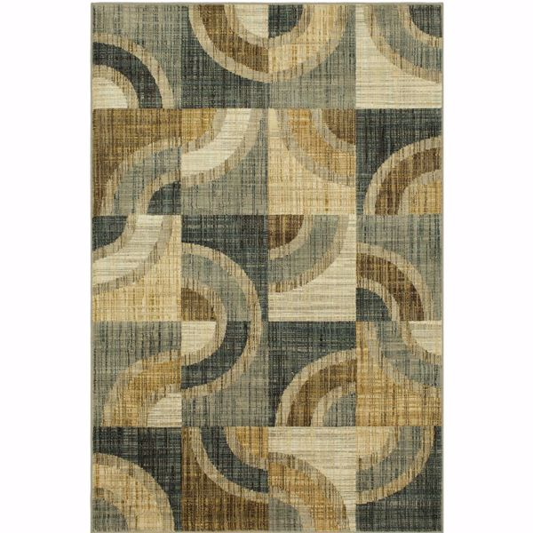 Picture of Serpentine Squares Grey 8x11 Rug