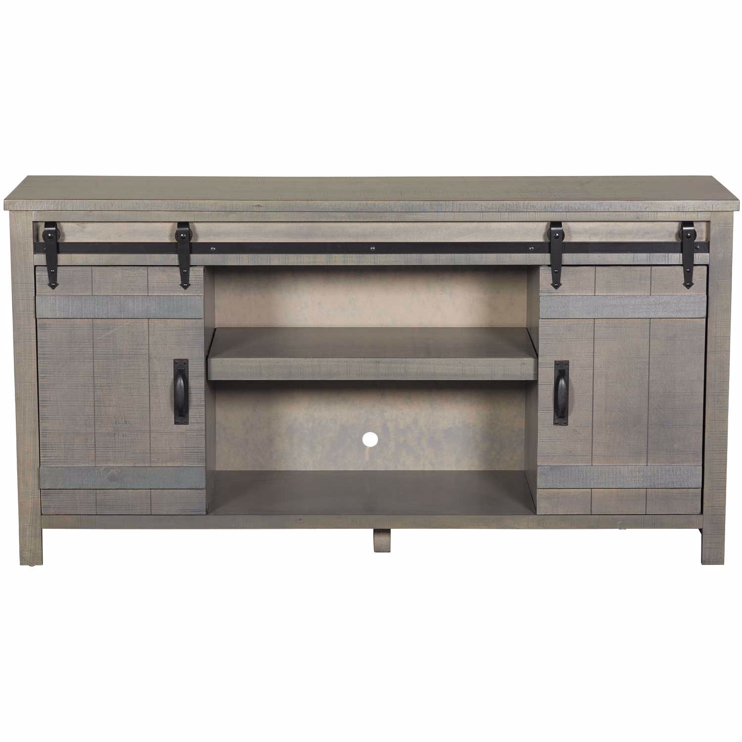 """Picture of Descanso 64"""" Highboy Barn Door Console, Gray"""