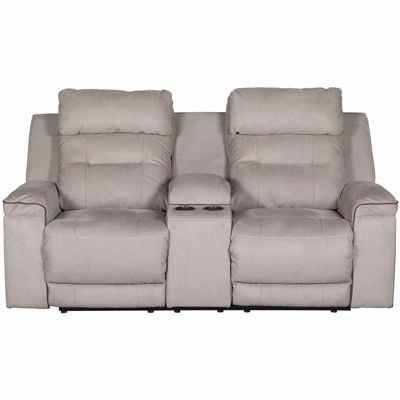 Picture of Trampton Power Reclining Console Loveseat with Headrest and Lumbar
