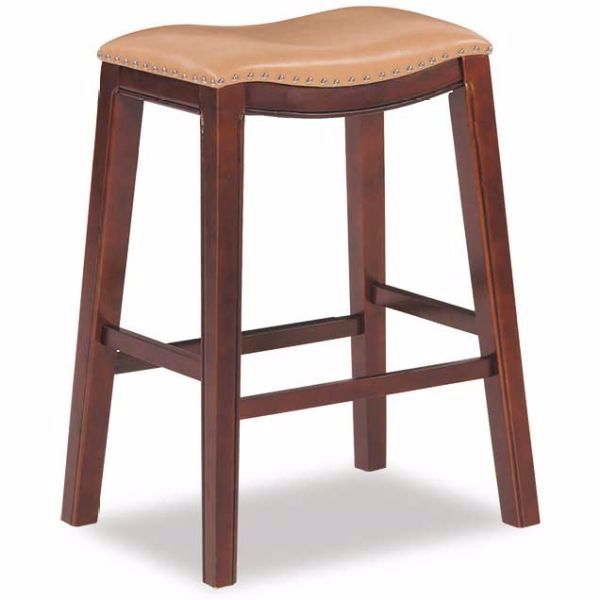"""Picture of Tan 30"""" Padded Saddle Stool"""