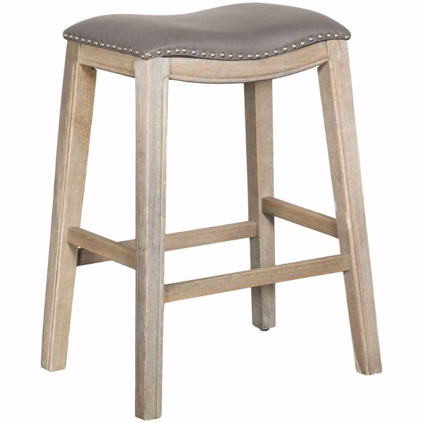 "Picture of Ryland Grey 30"" Padded Saddle Stool"