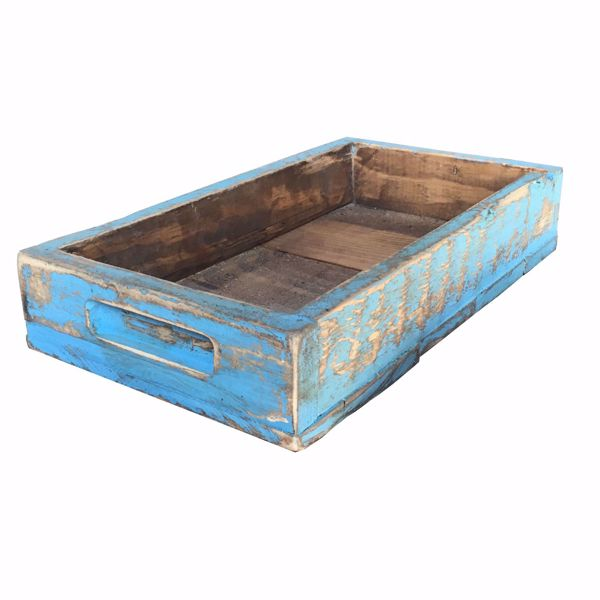 Picture of Rustic Wooden Tray Light Blue