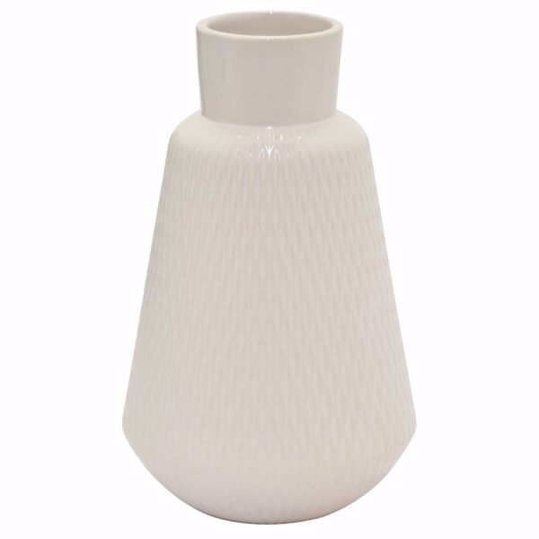 Picture of White Ceramic Angled Vase