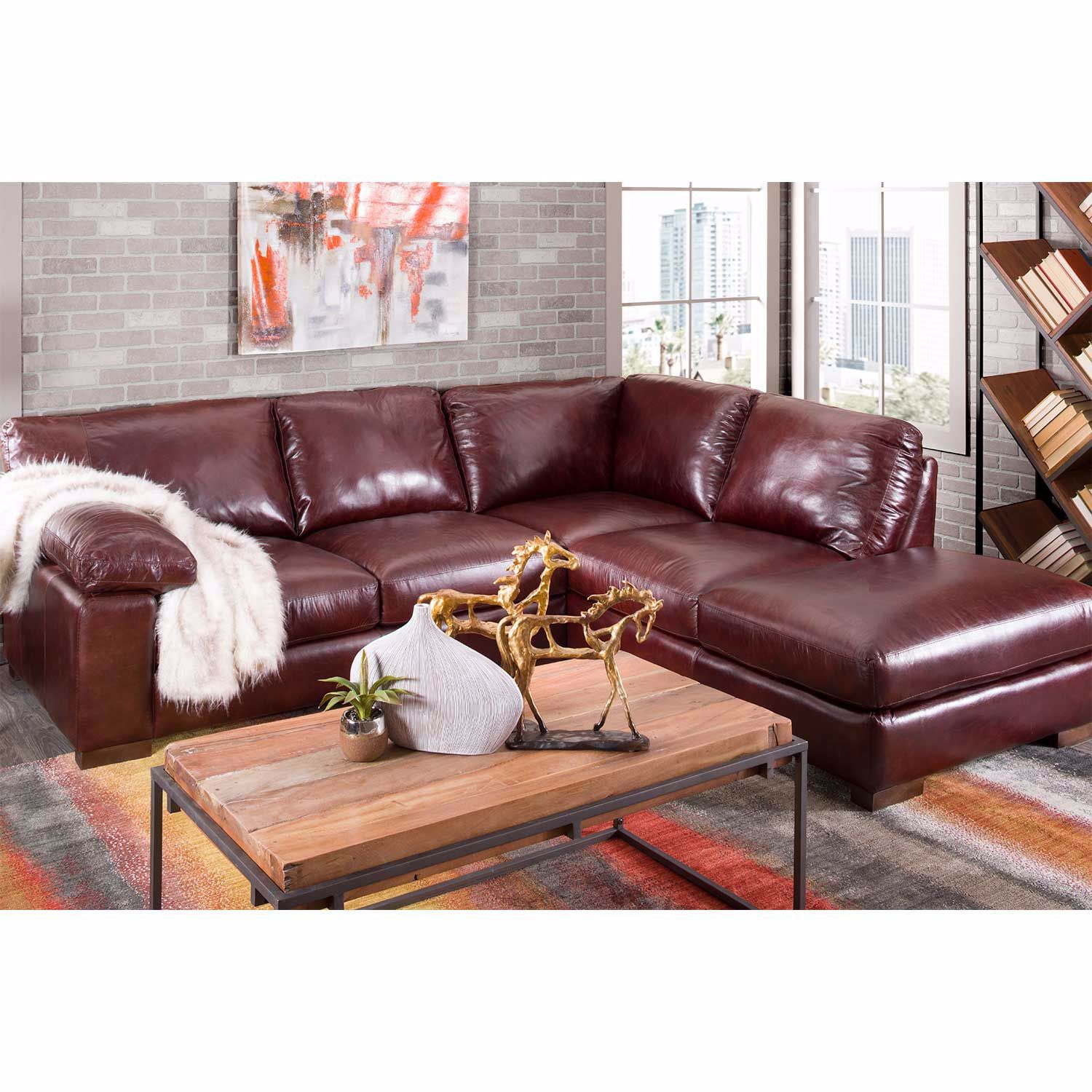 Barcelona All Leather 2 Piece Sectional With RAF Chaise