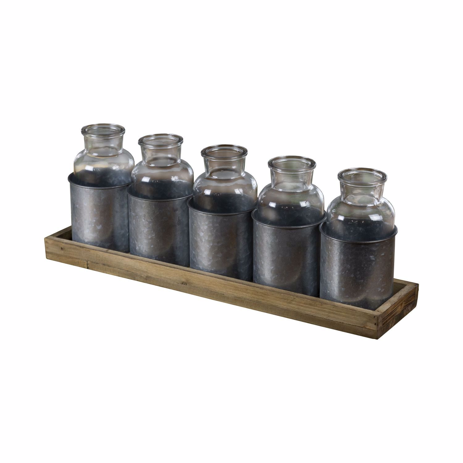 Picture of 5 Glass Bottles With Wood Tray