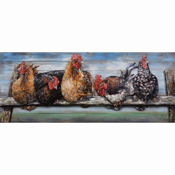 Picture of Chickens On Metal