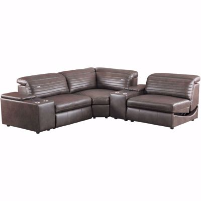 Picture of Jett 5 Piece Leather Power Reclining Sectional
