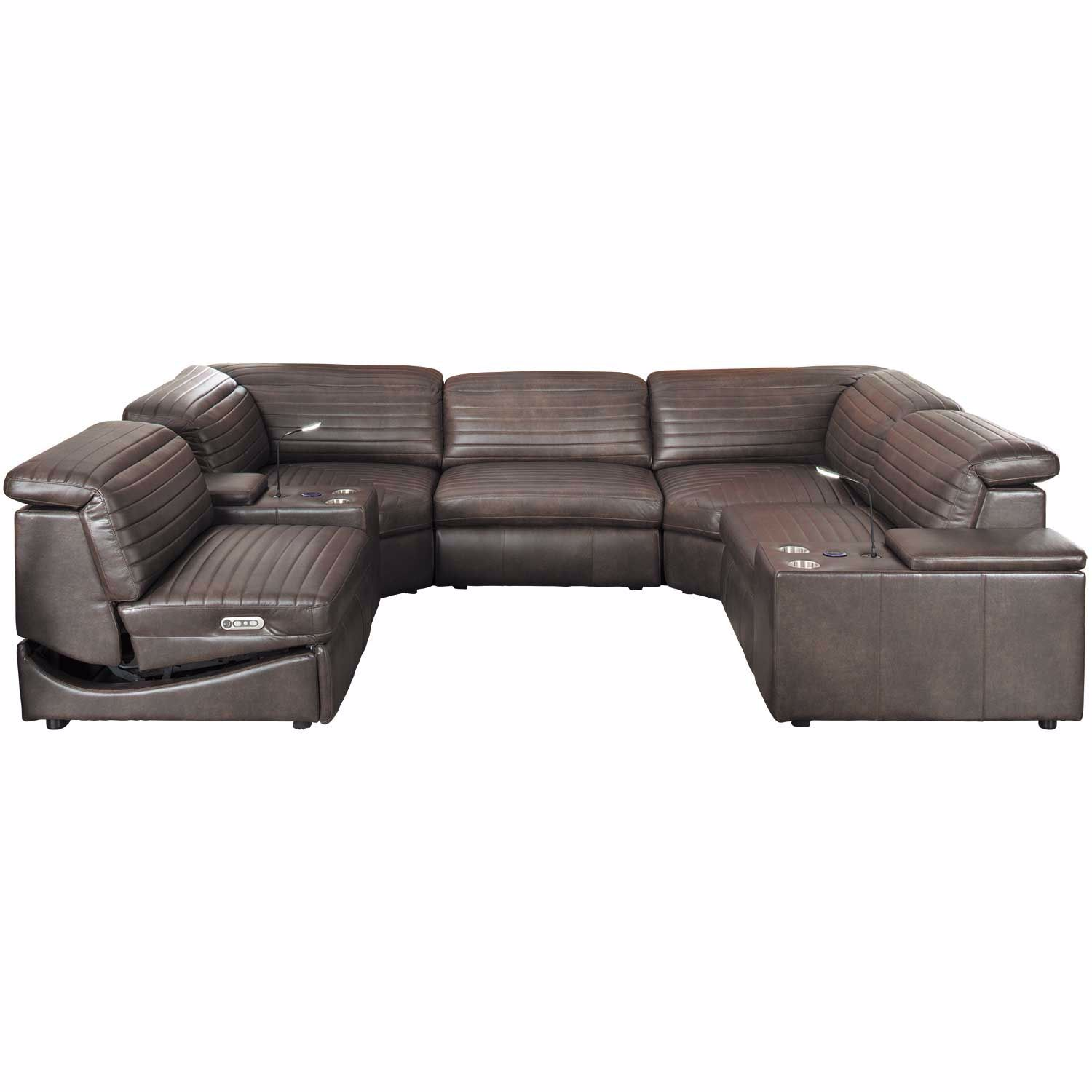 Pleasant Jett 7 Piece Leather Power Reclining Sectional Bralicious Painted Fabric Chair Ideas Braliciousco