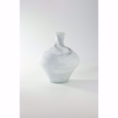 Picture of White With Grey Swirl Glass Vase