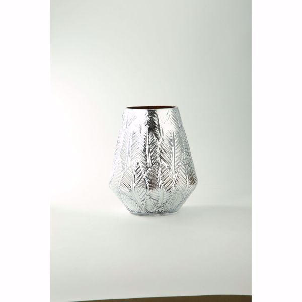 Picture of Silver Etch Leaf Glass Vase