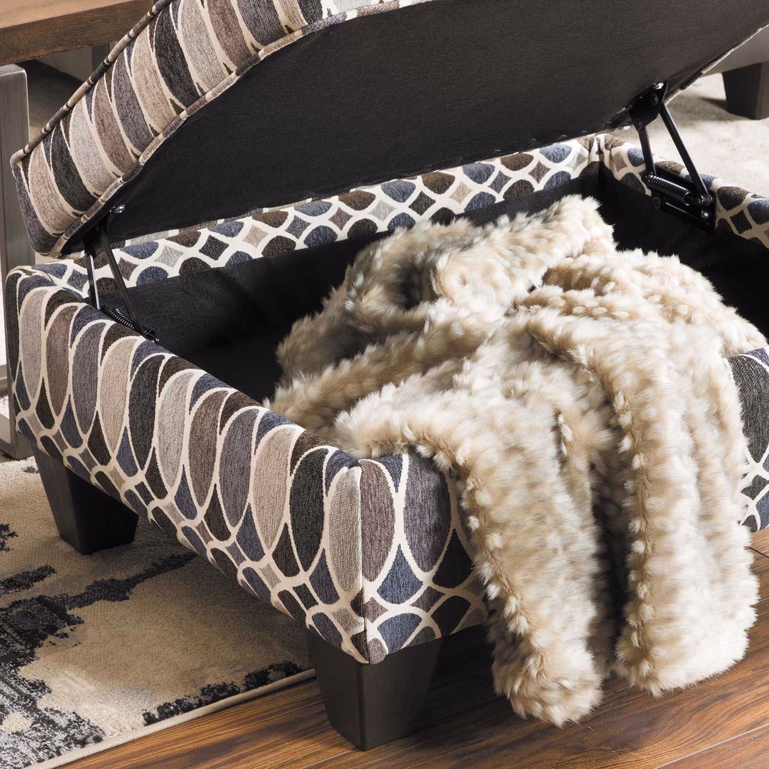Picture of Declan Deco Shapes Accent Storage Ottoman