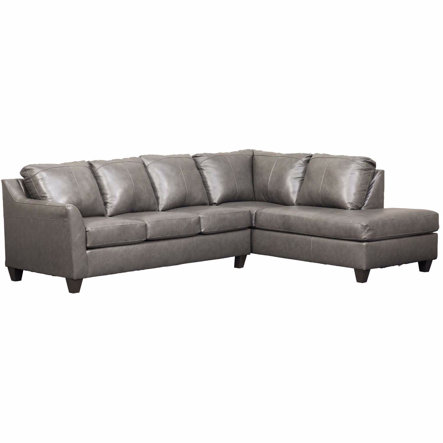 Declan 2 Piece Fog Leather Sectional w/RAF Chaise