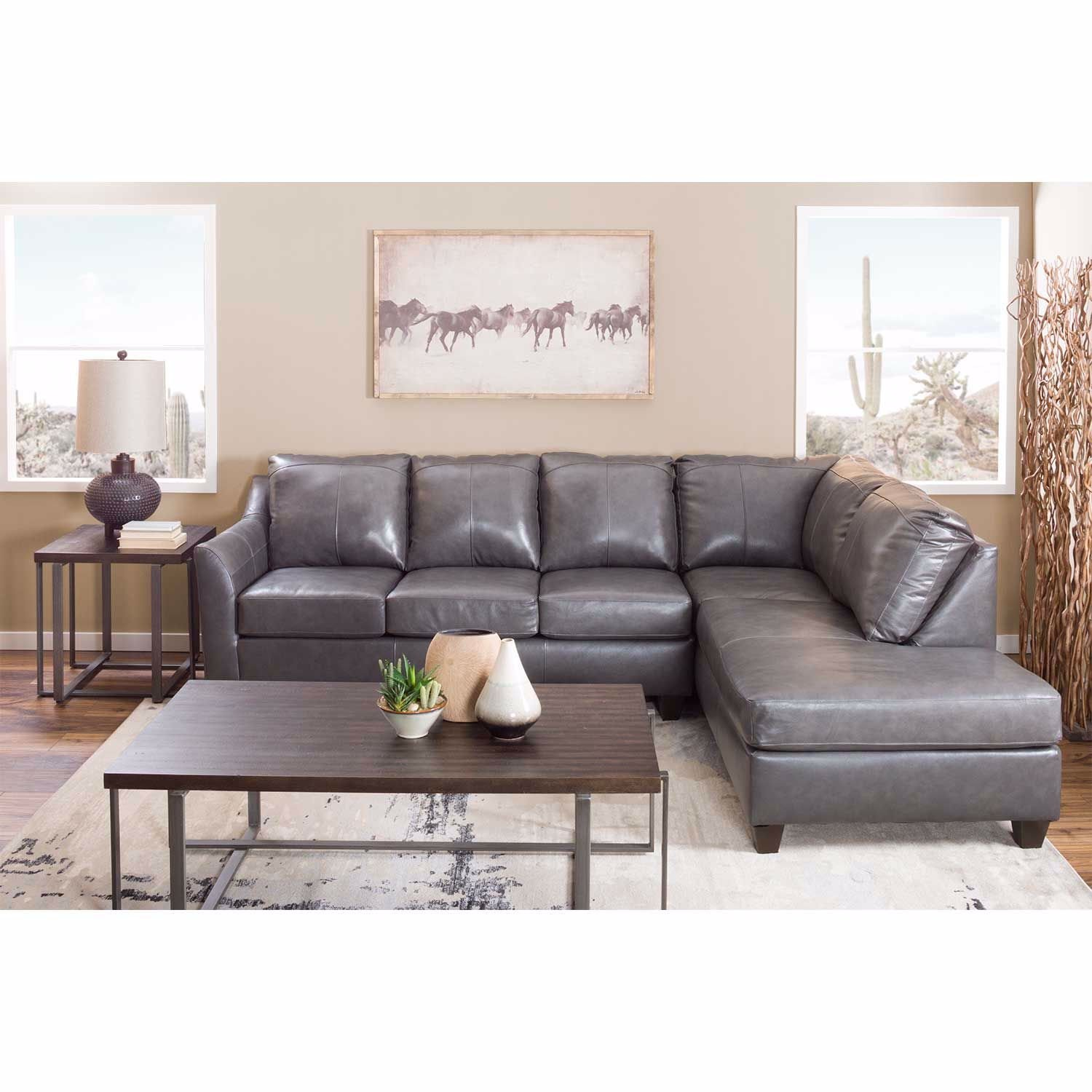 Picture of Declan 2 Piece Fog Leather Sectional w/RAF Chaise