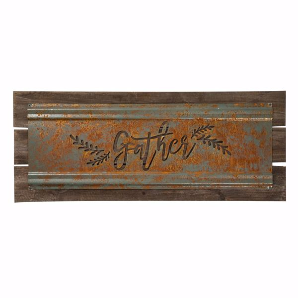Picture of Gather Sign Metal Wood