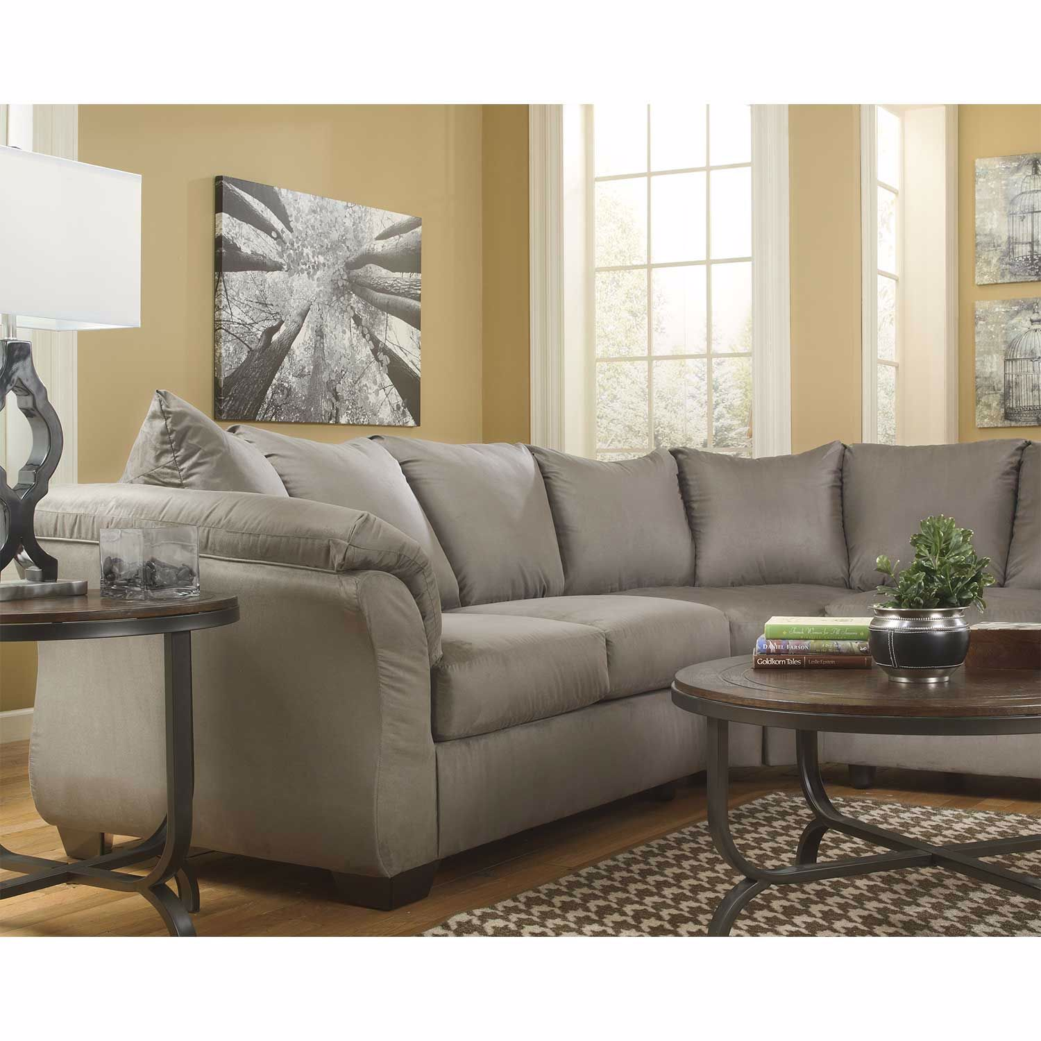 Enjoyable Darcy Cobblestone Gray 2 Piece Sectional W Laf Chaise Gmtry Best Dining Table And Chair Ideas Images Gmtryco