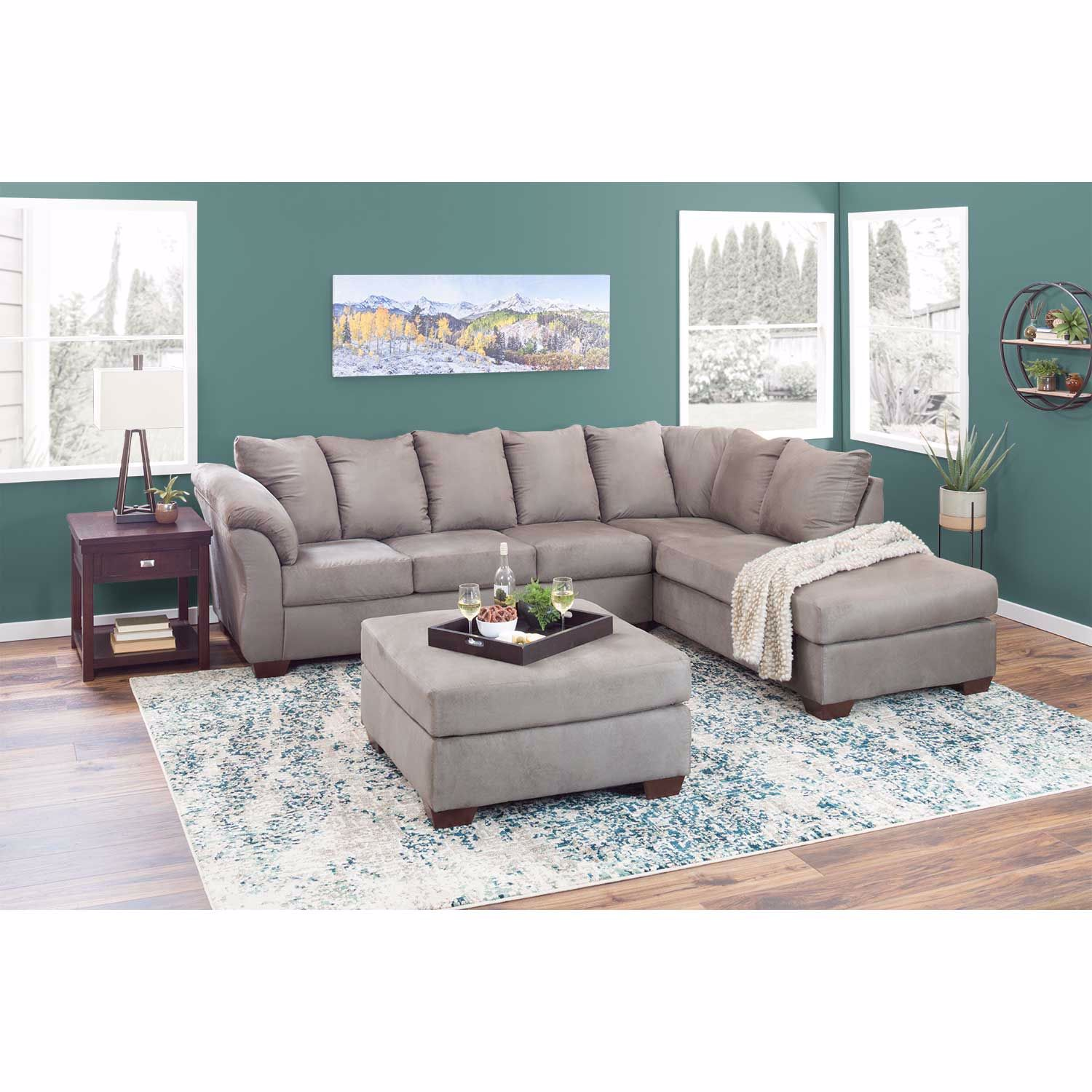 Darcy Cobblestone Gray 2 Piece Sectional w/ RAF Chaise ...