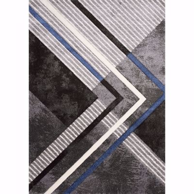 Picture of Charcoal Blue White Graphic 5x8 Rug