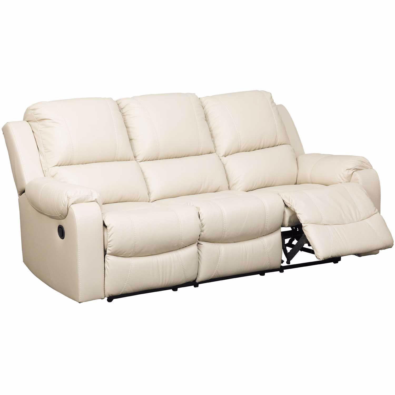 Rackingburg Cream Leather Reclining Sofa