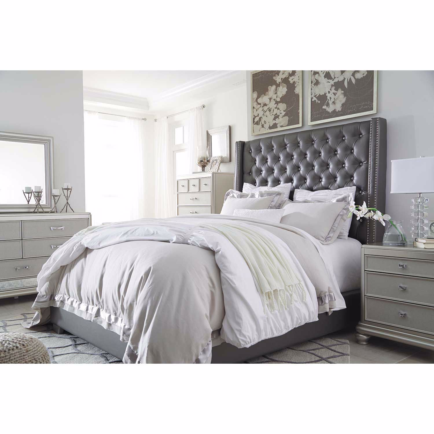 B657 77 Ashley Furniture Queen Upholstered Bed: Coralayne Upholstered Queen Bed