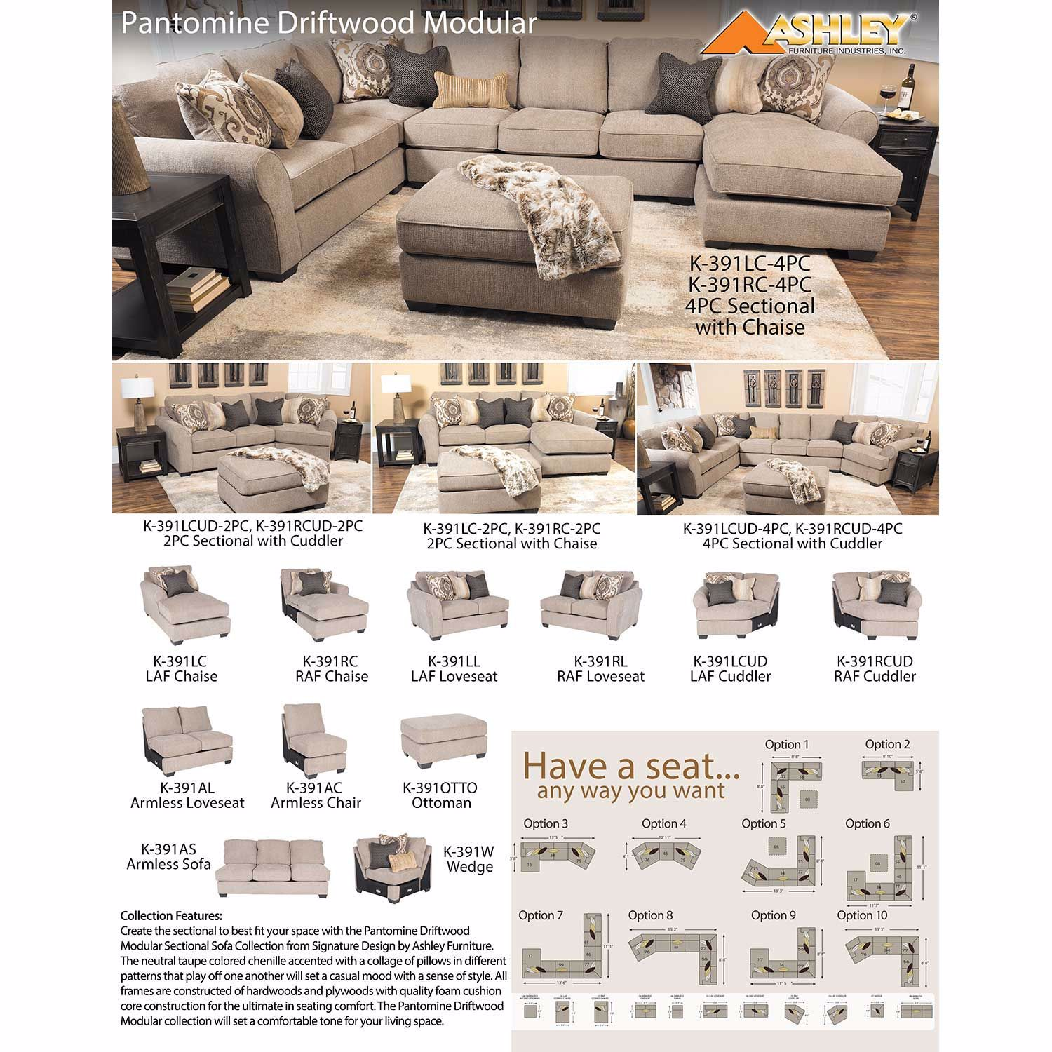 Pantomine 4 Piece Sectional with RAF Cuddler