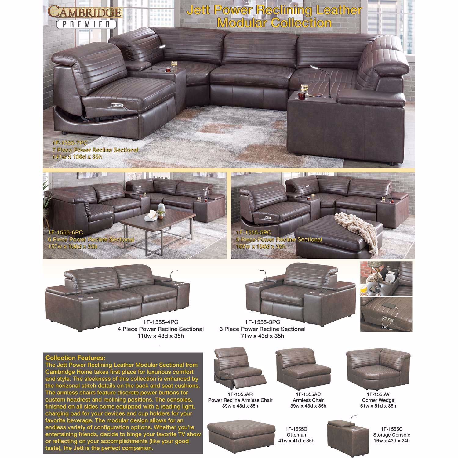 Picture of Jett 7 Piece Leather Power Reclining Sectional