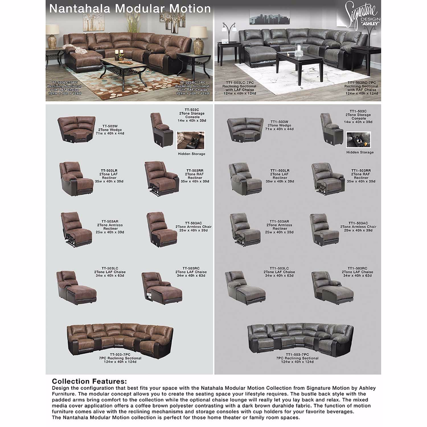 Picture of 7PC Slate Reclining Sectional