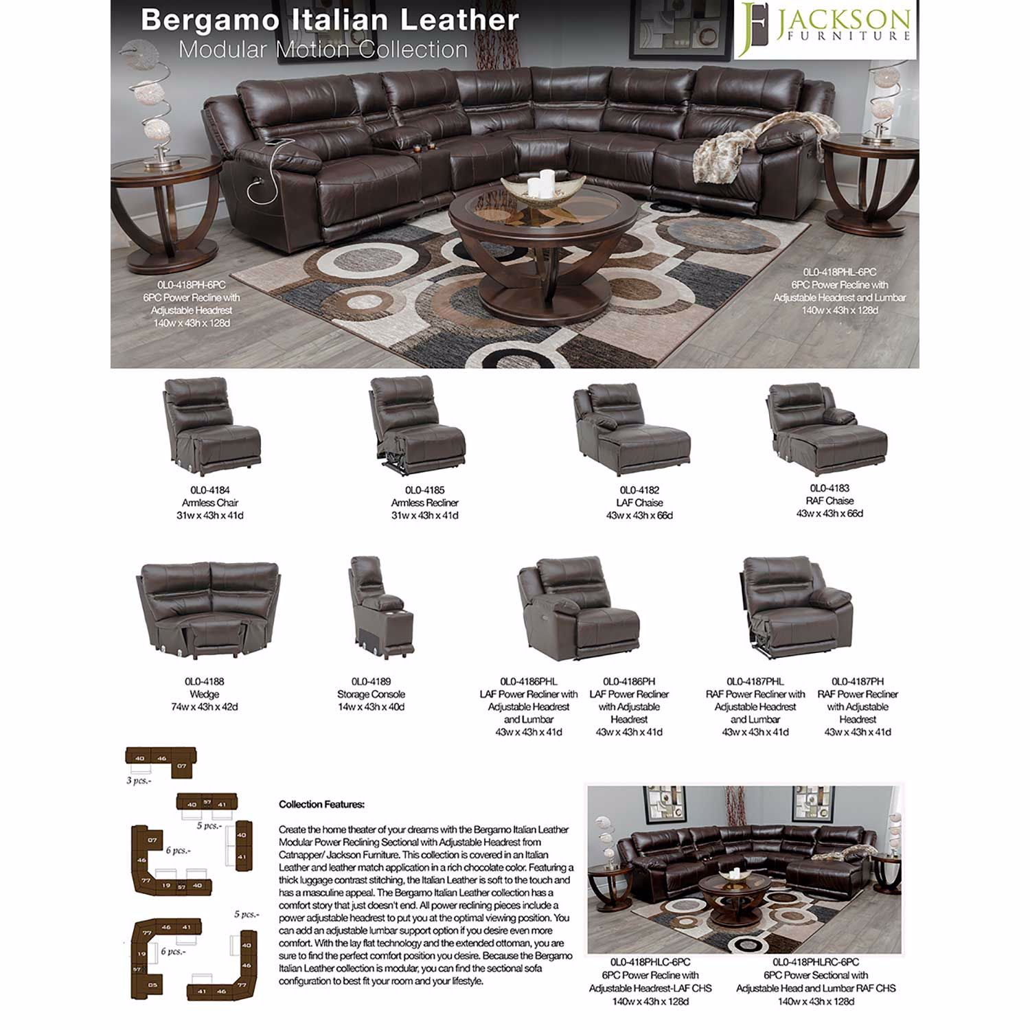 Picture of Bergamo 6 Piece Power Reclining Sectional with Adjustable Headrest and Lumbar