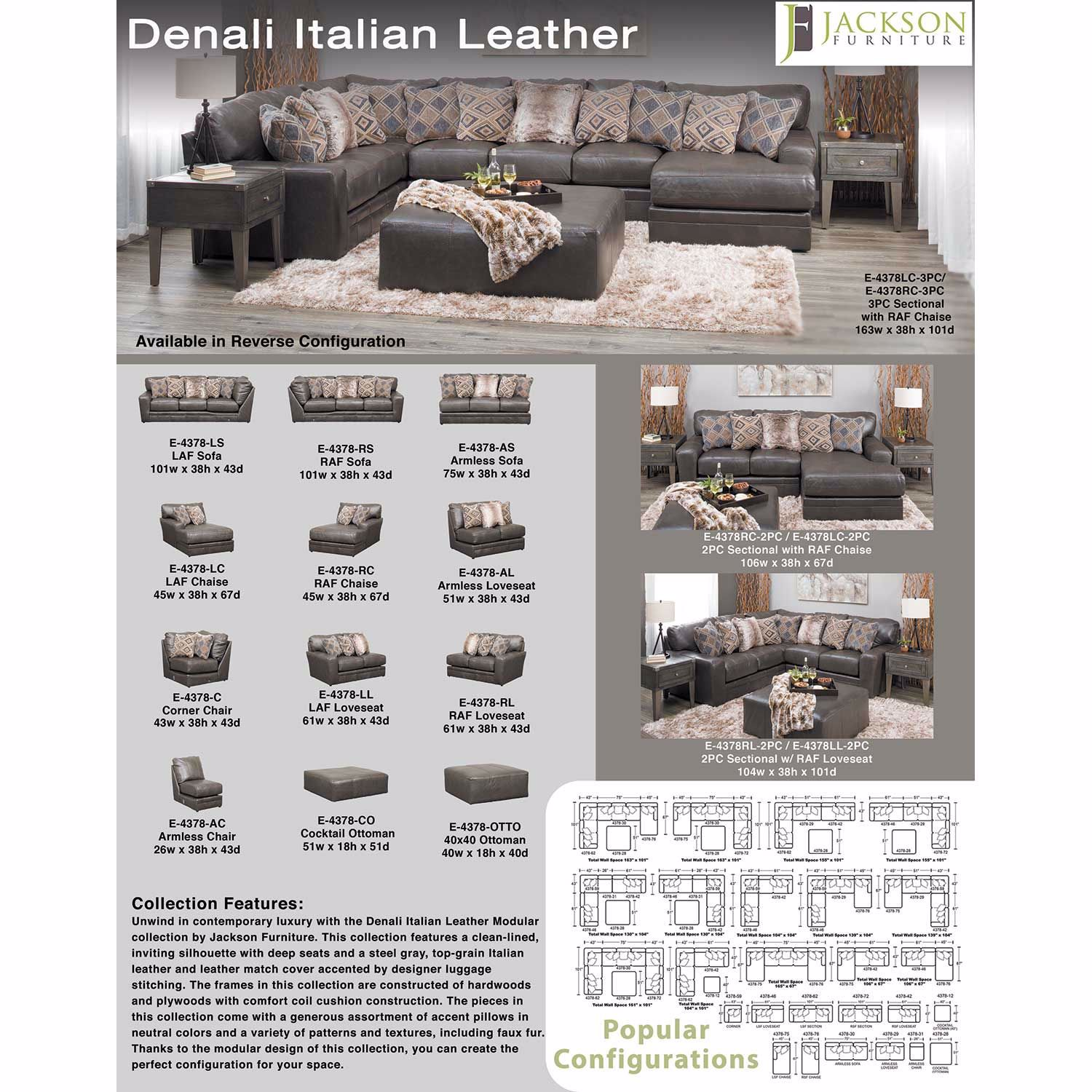 Picture of Denali 3 Piece Italian Leather Sectional with LAF Chaise