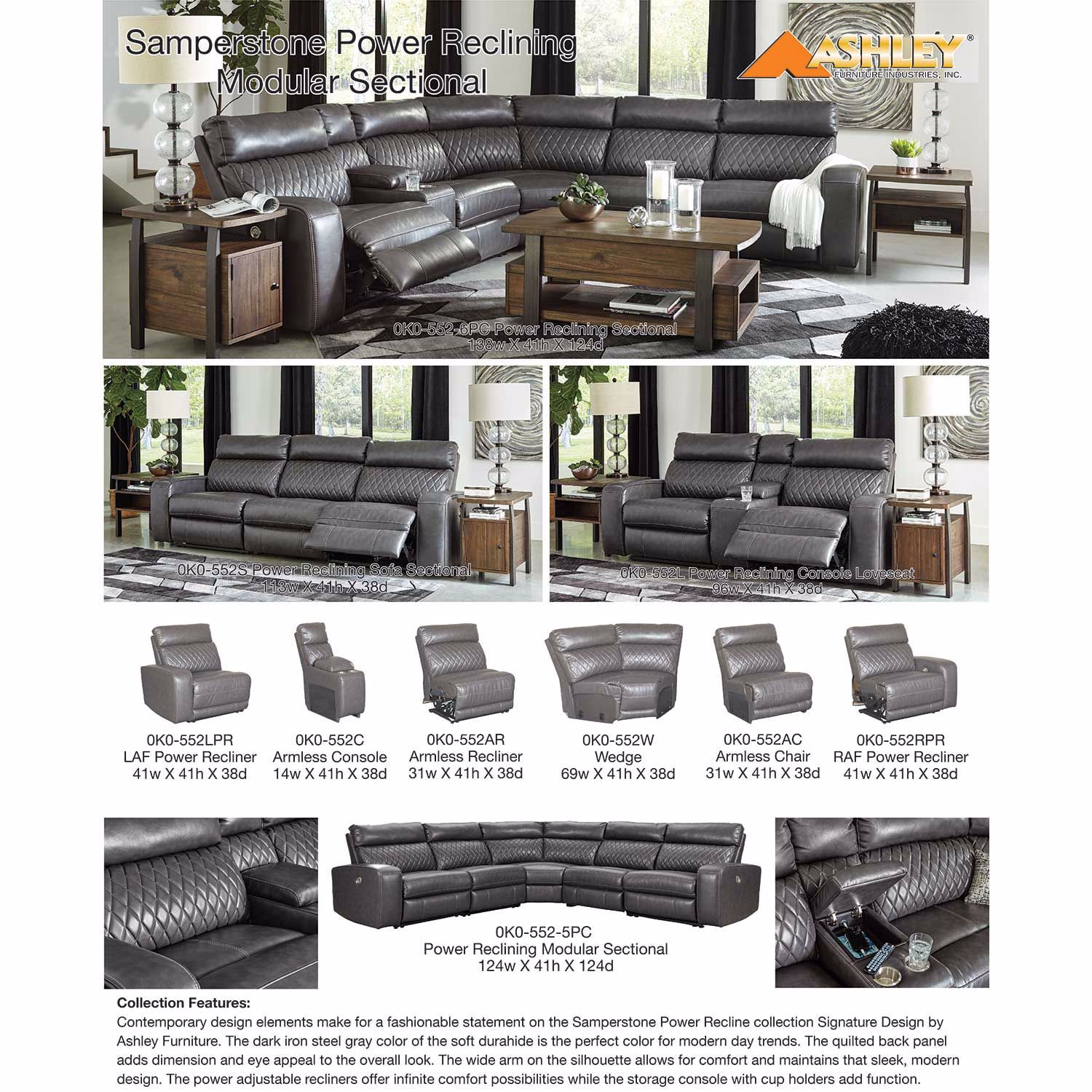 Picture of Samperstone Power Reclining Console Loveseat