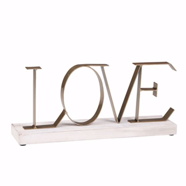 Picture of Love Sculpture Metal Wood