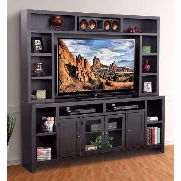 """Picture of 84"""" Essentials Black TV Console/Hutch"""