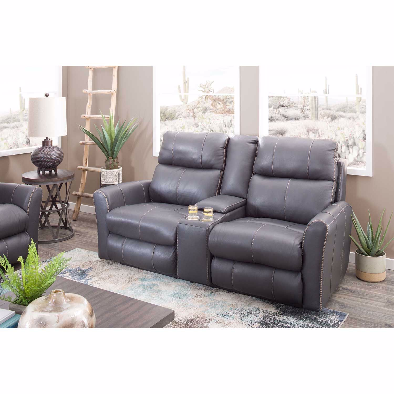 Picture of Italian Leather Power Reclining Console Loveseat