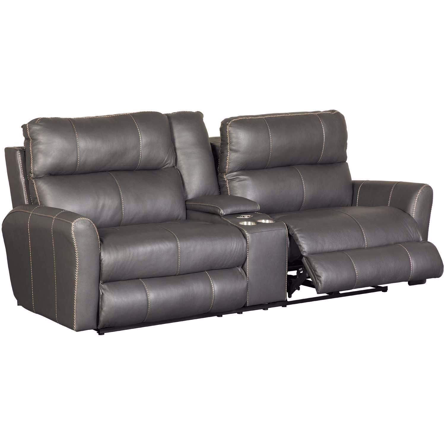 Picture of Italian Leather Power Reclining Console Sofa
