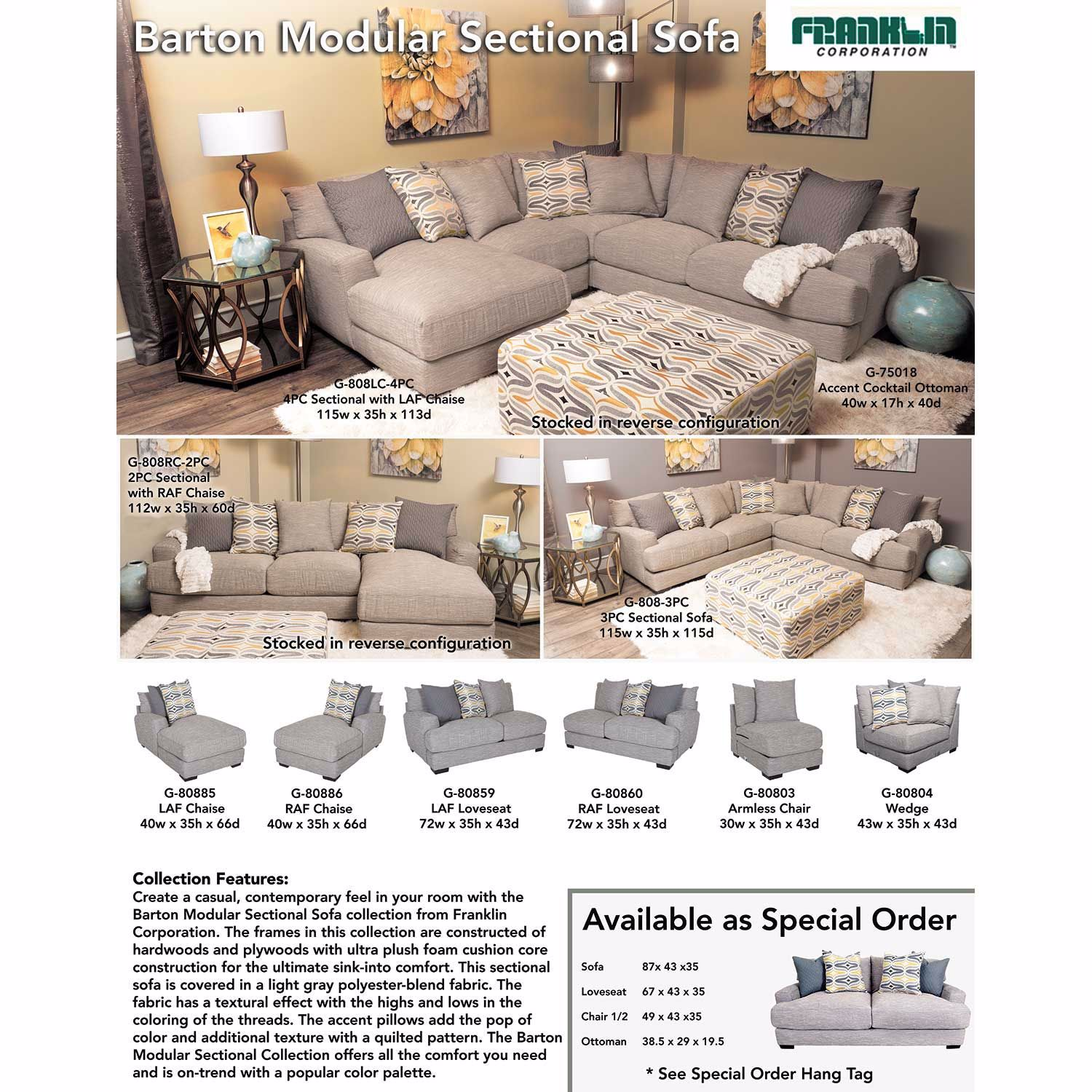 Picture of Barton 2PC Sectional with RAF Chaise