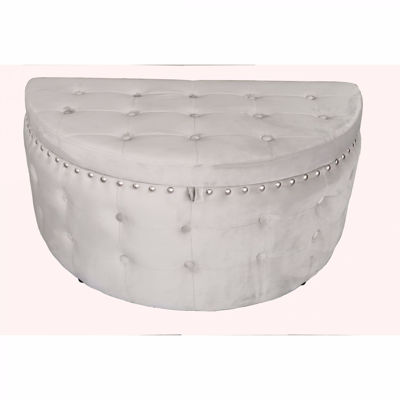Picture of Silver Grey Half Moon Storage Ottoman