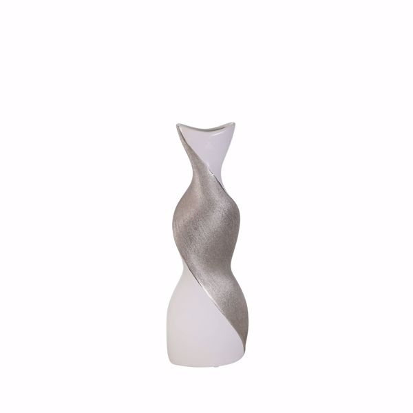 Picture of White Silver Twist Vase 16IN