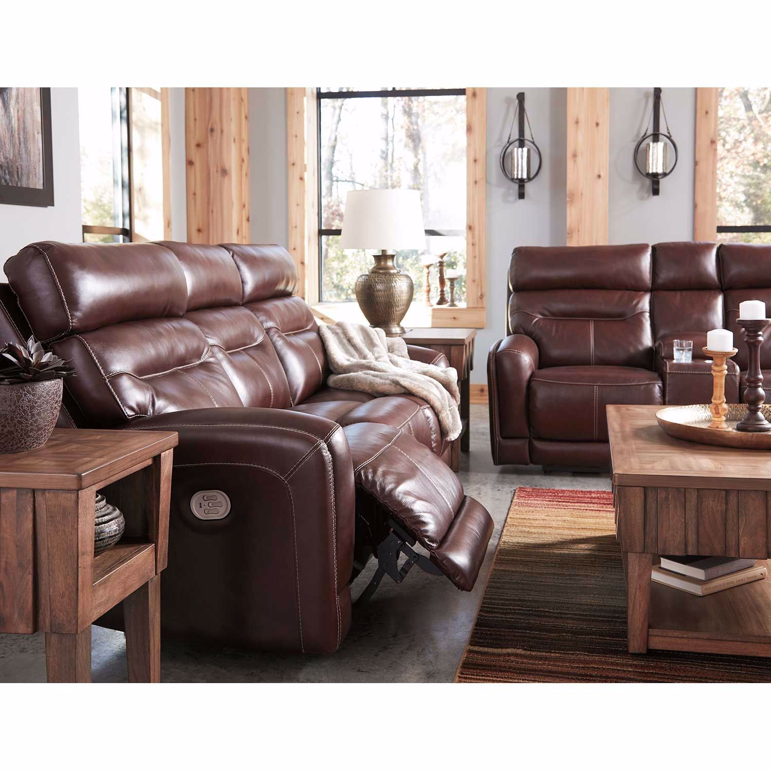 Picture of Sessom Leather Power Recliner with Adjustable Headrest and Lumbar