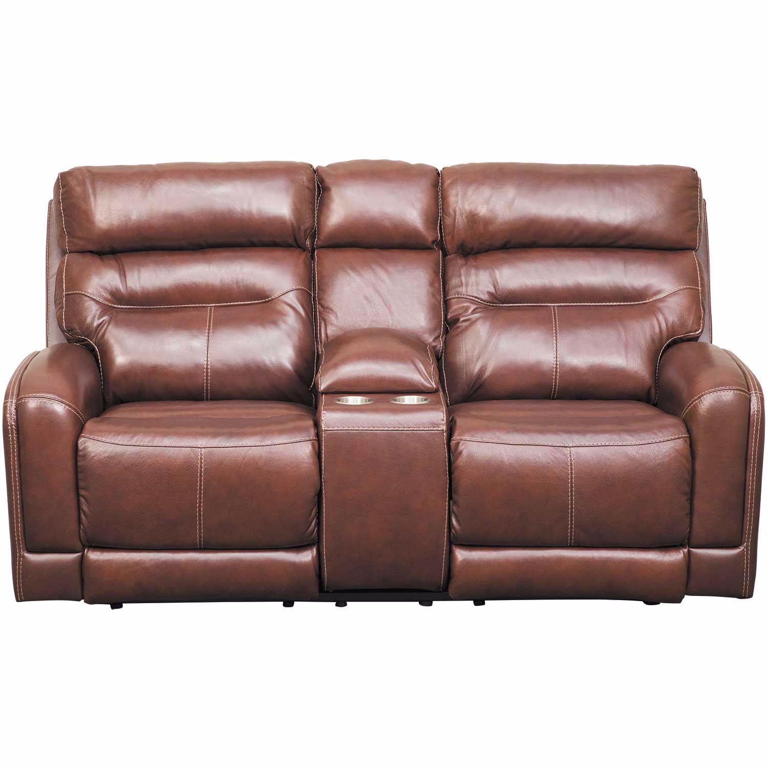 Superb Sessom Leather Power Reclining Console Loveseat With Adjustable Headrest And Lumbar Machost Co Dining Chair Design Ideas Machostcouk