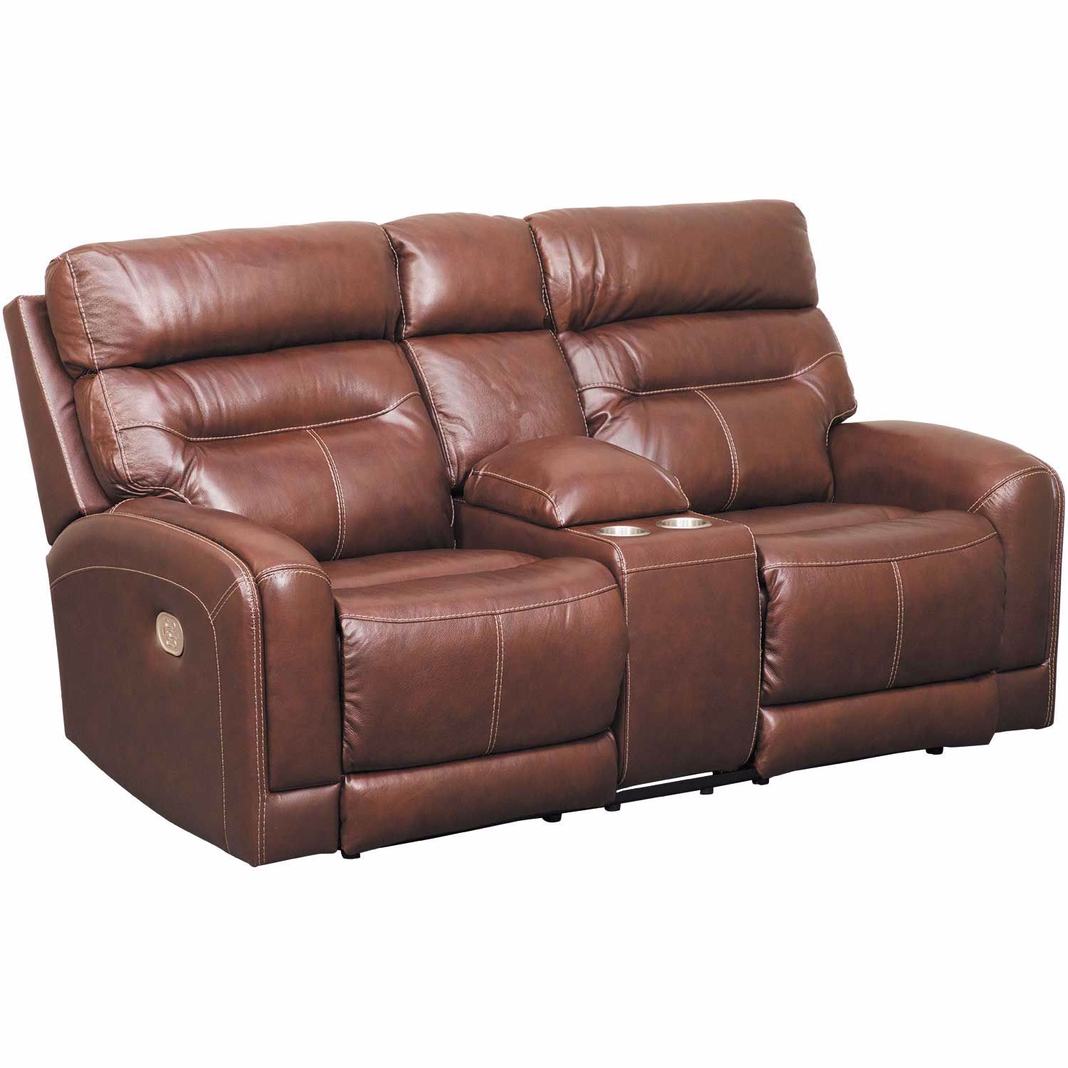 Excellent Sessom Leather Power Reclining Console Loveseat With Adjustable Headrest And Lumbar Ibusinesslaw Wood Chair Design Ideas Ibusinesslaworg