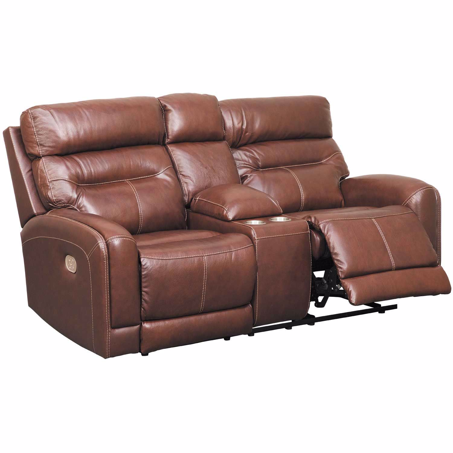 Enjoyable Sessom Leather Power Reclining Console Loveseat With Adjustable Headrest And Lumbar Ibusinesslaw Wood Chair Design Ideas Ibusinesslaworg