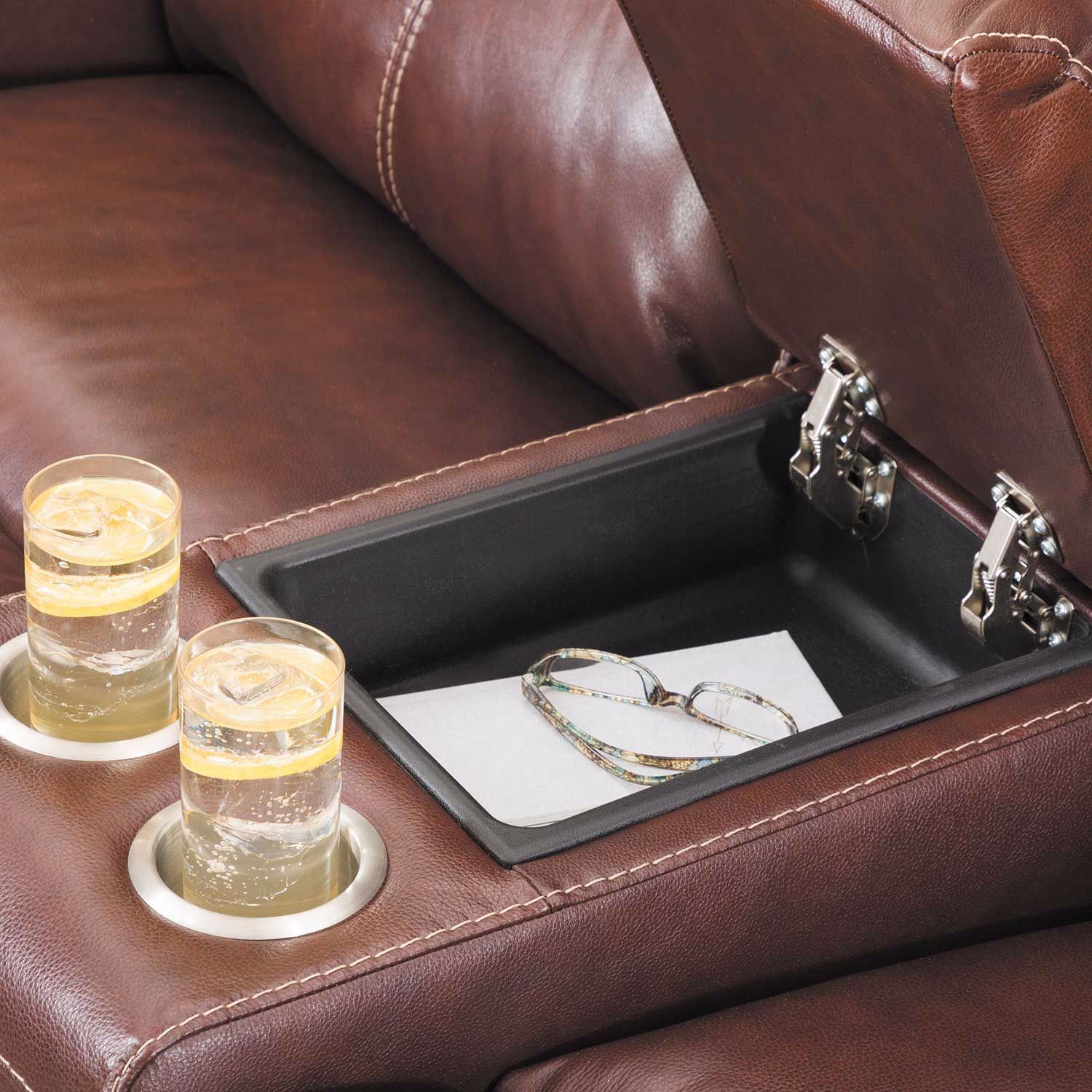 Picture of Sessom Leather Power Reclining Console Loveseat with Adjustable Headrest and Lumbar