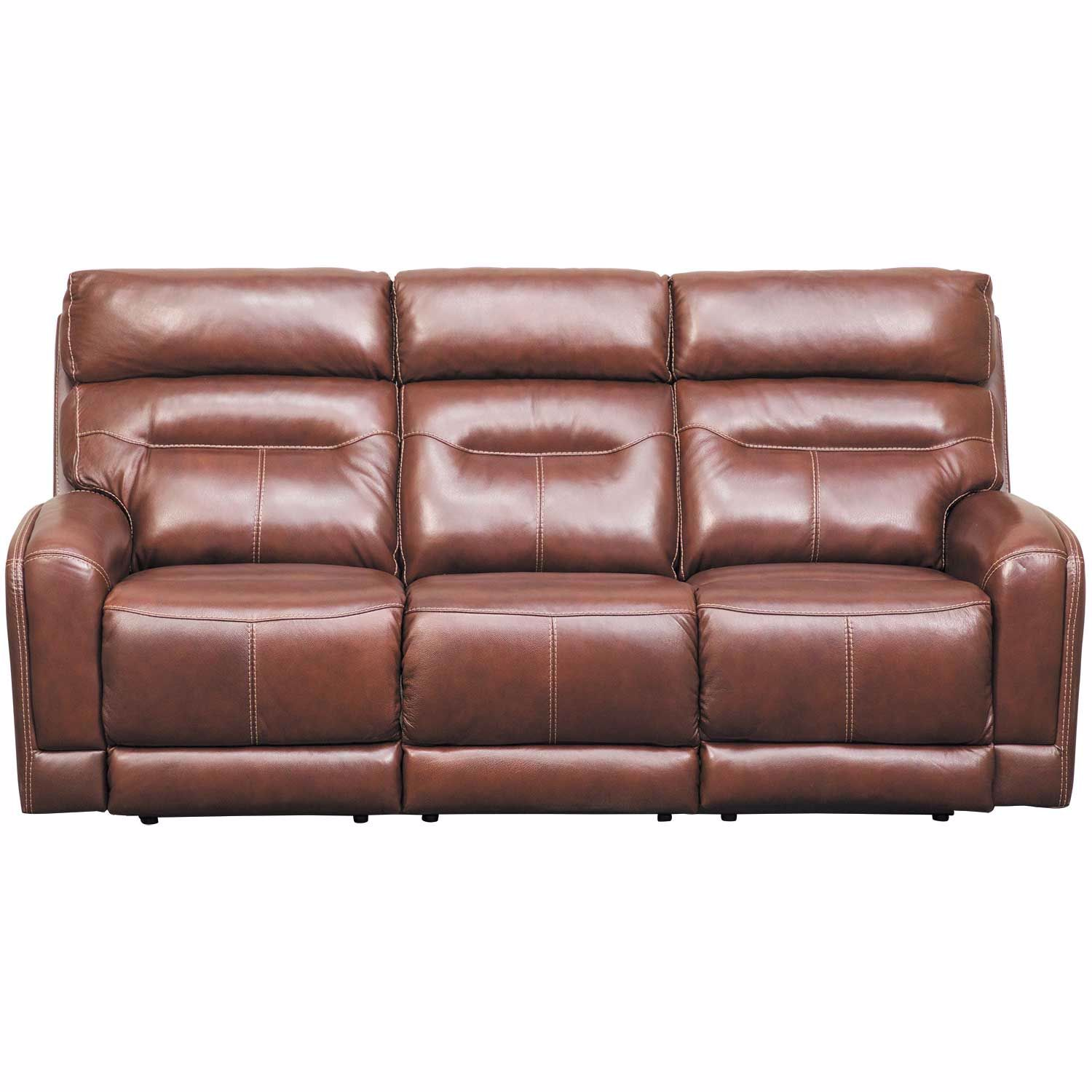 Sessom Leather Power Reclining Sofa with Adjustable Headrest and Lumbar  Support