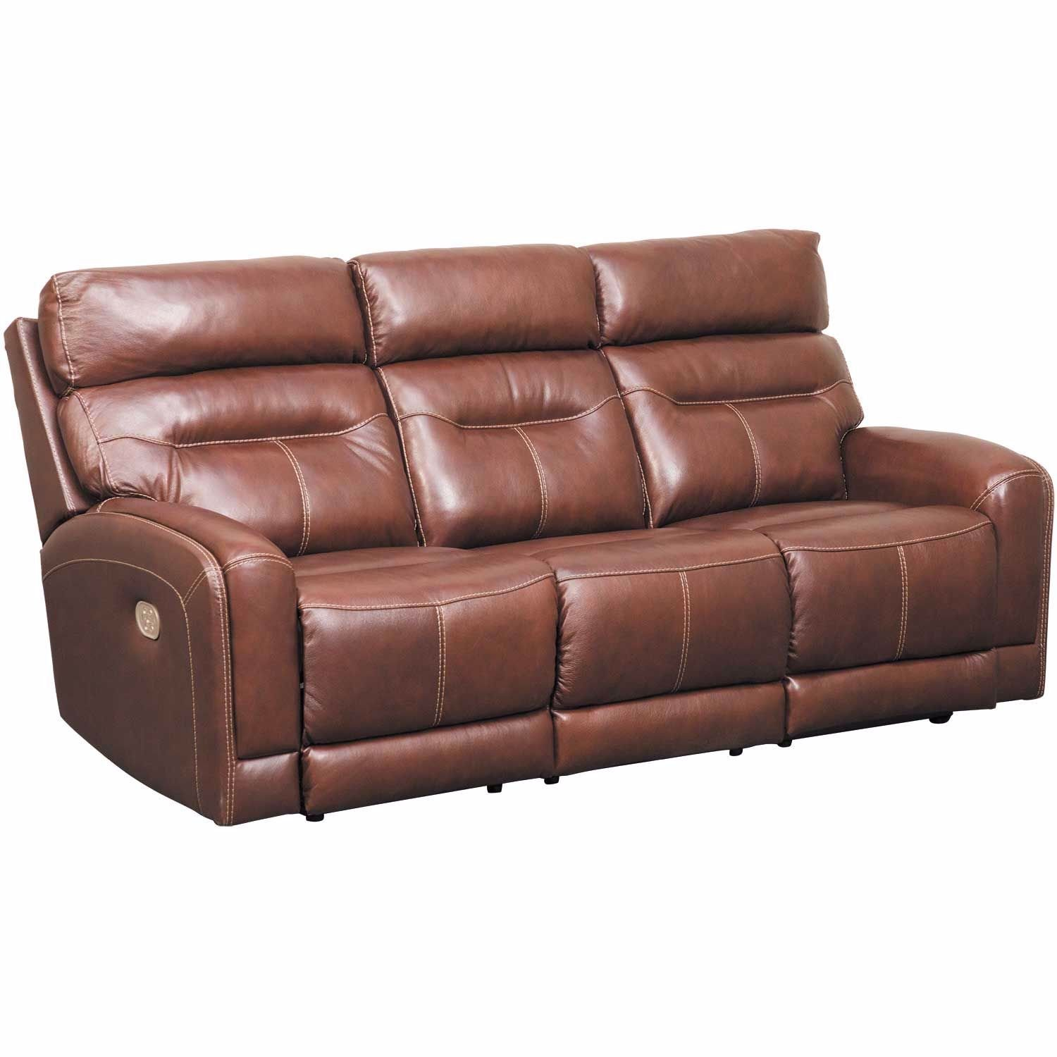 Picture of Sessom Leather Power Reclining Sofa with Adjustable Headrest and Lumbar Support