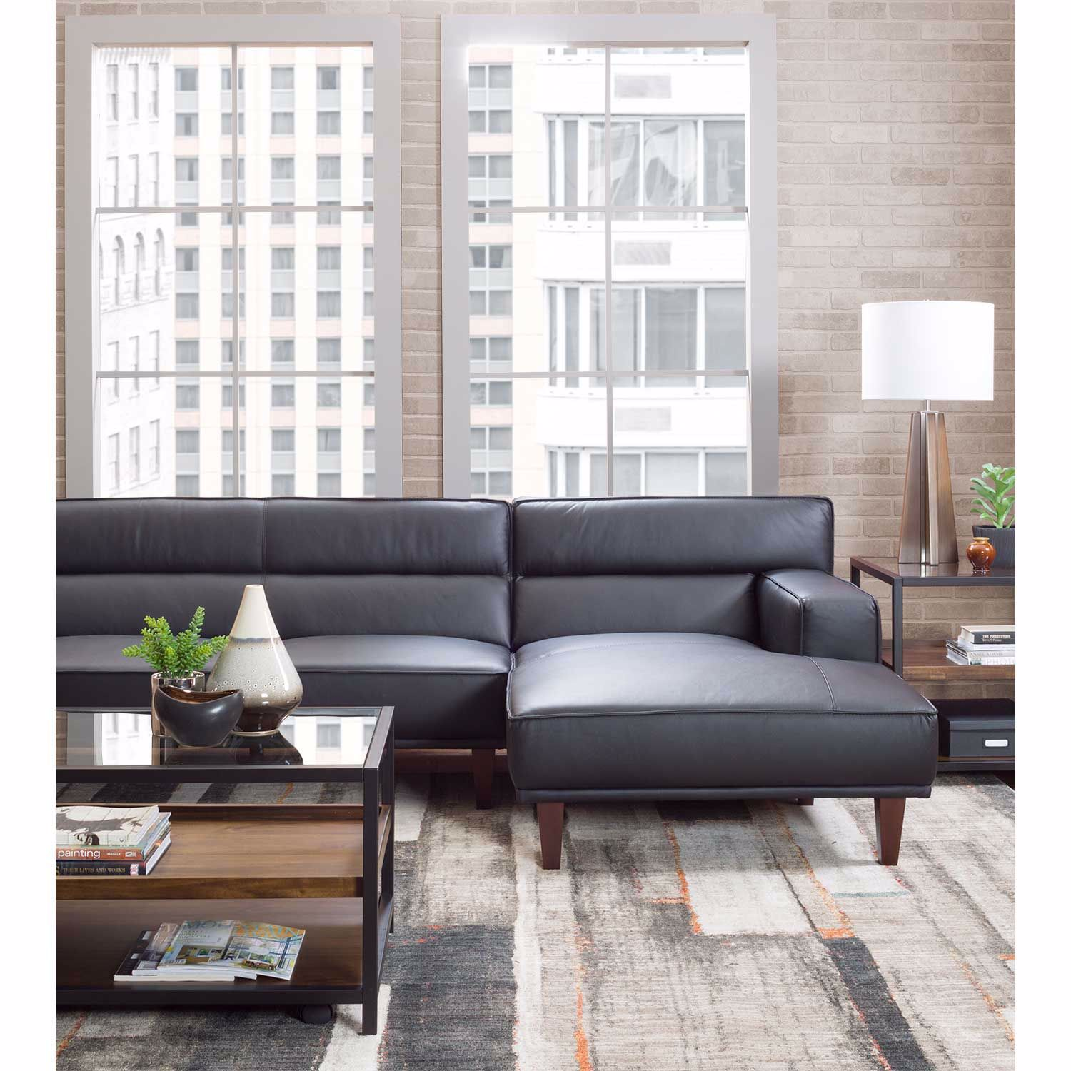 Picture of Sloan 2PC Leather Black Sectional