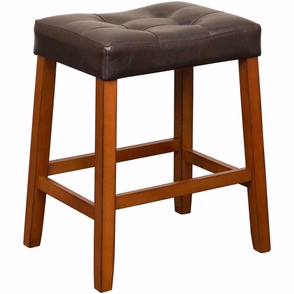 "Picture of Portman 24"" Espresso Saddle Stool"
