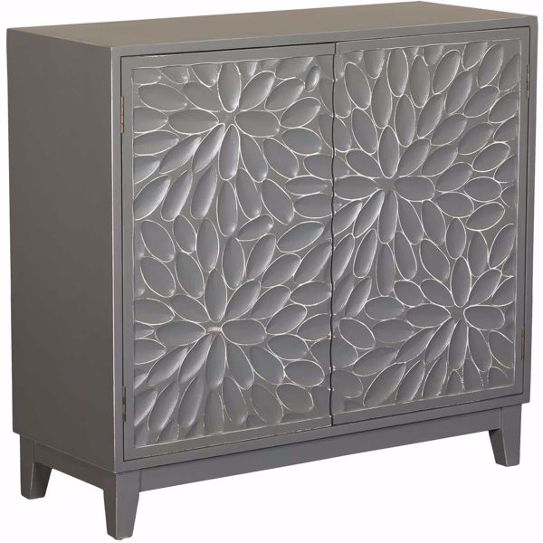 Picture of Floral Gray Accent Cabinet