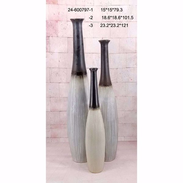 Picture of Grey Metallic Thin Neck Vase