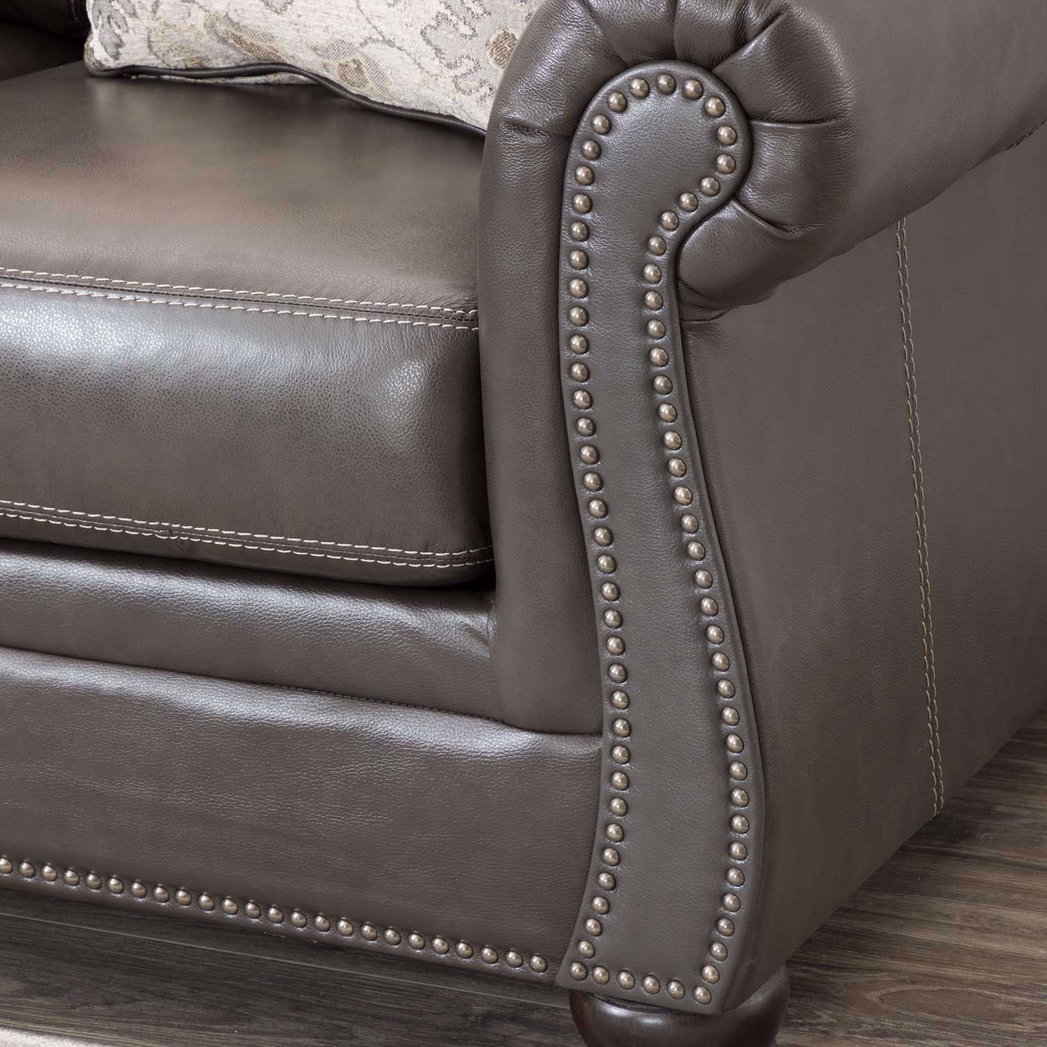 Picture of Lawthorn Slate Italian Leather Loveseat